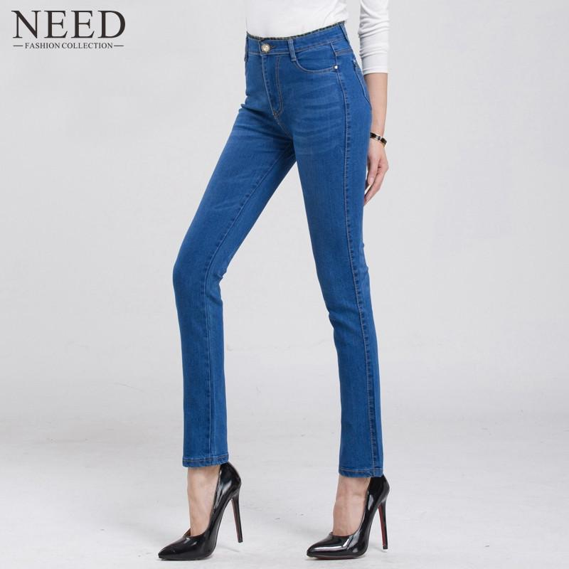 2017 High Waist Jeans Woman High Waisted Jeans Slim Skinny Jeans Womens Plus Size Stretch Straight Jeans Denim Blue Trousers