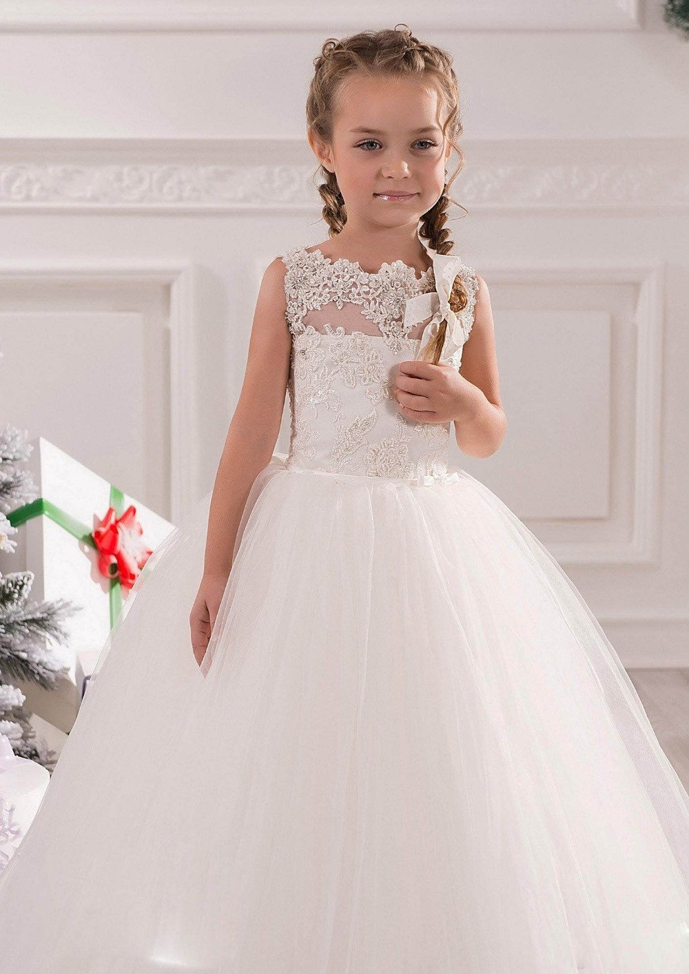 2017 Little White Lace Ball Gown Flower Girl Dresses Baby Kids ...
