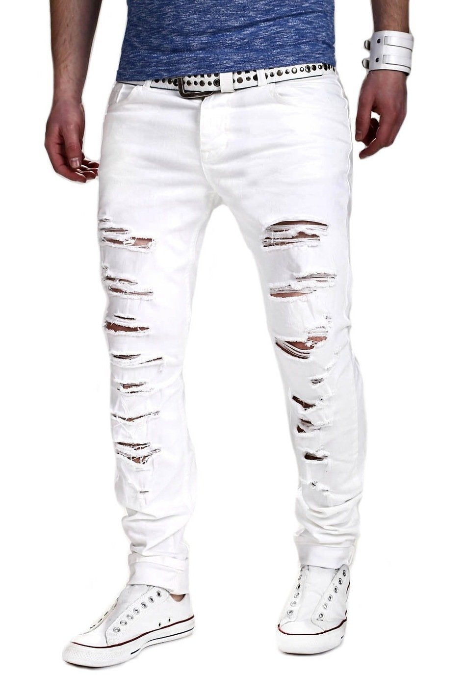 2017 Men s Pants Hole Cut Slacks Knee with Zipper Foot Stretch Trousers  Ripped Jeans White Skinny 675a57dbdf86
