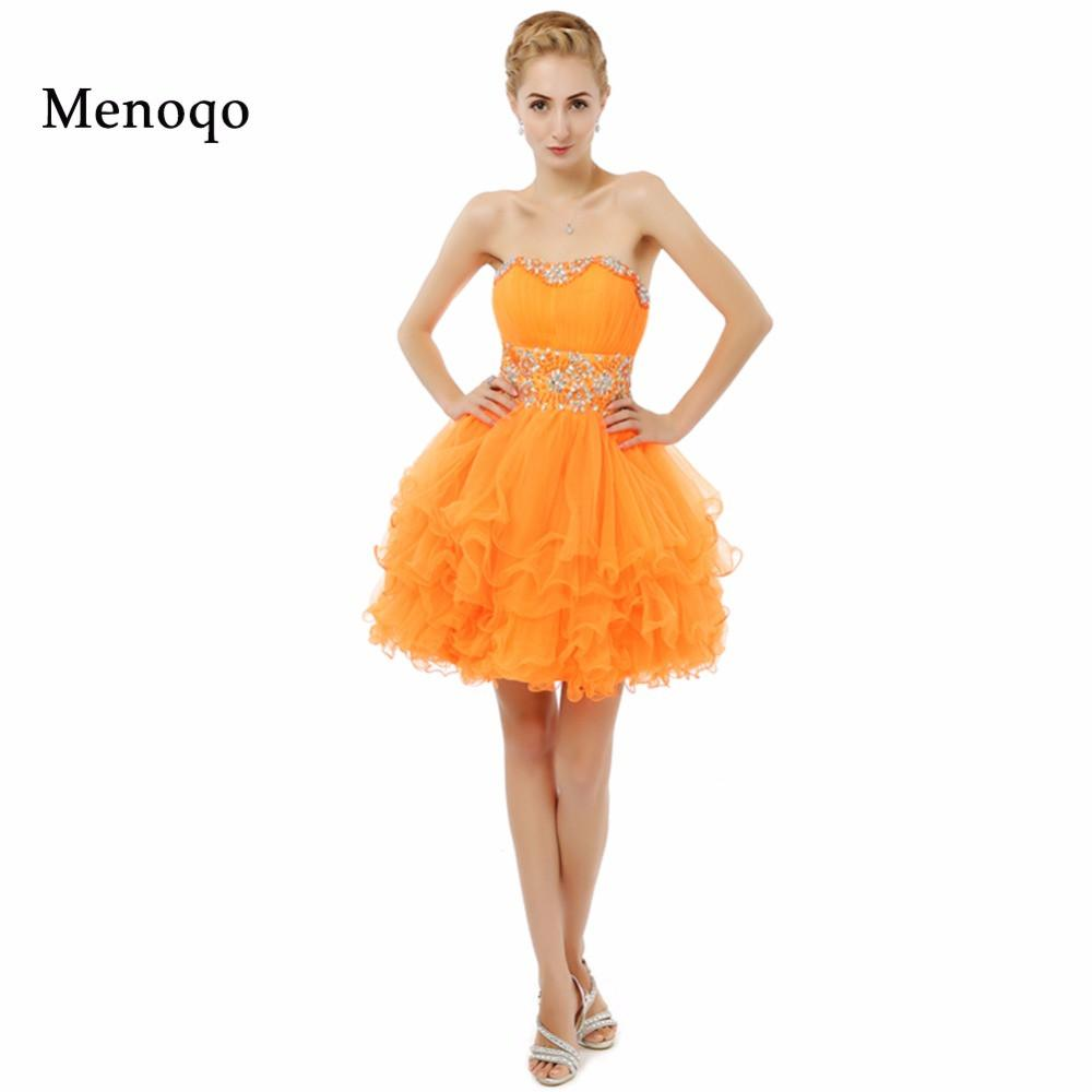 2017 New Arrival Real Model Orange Ball gown Beaded Tulle Knee ...