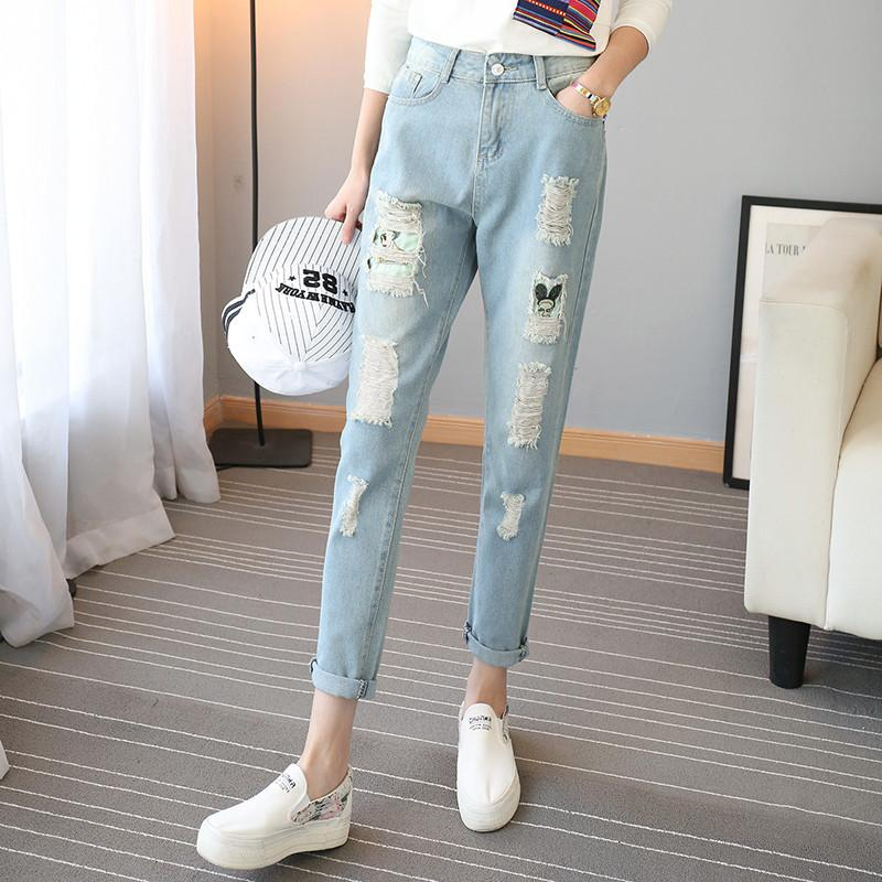 2017 New Arrivals Holes Harem Pants Cartoon Printed Ripped Jeans for Women Vintage Fashion Plus Size Ladies Denim Pants 40841