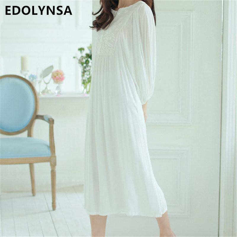 2017 New Arrivals White Nightgowns Sleepshirts Solid Ladies Dresses ...