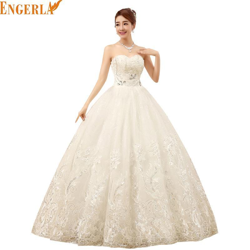 2017 New Arrive Strapless Wedding Dress Large Size Ball Gown Gow Lace Diamond Bridal