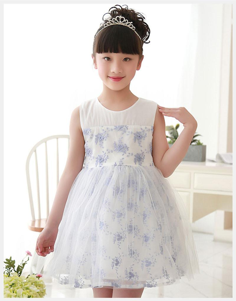 2017 New Design Cheap Pink Blue Flower Girls Dresses With Lace