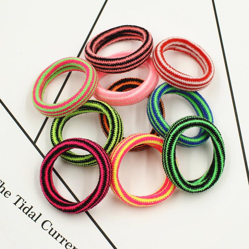 2017 New Fashion Kids Elastics Rubber Bands Striped Colored Hair