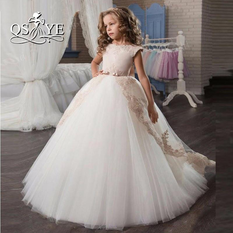 2017 New Pink And White Flower Girl Dress For Weddings With Train