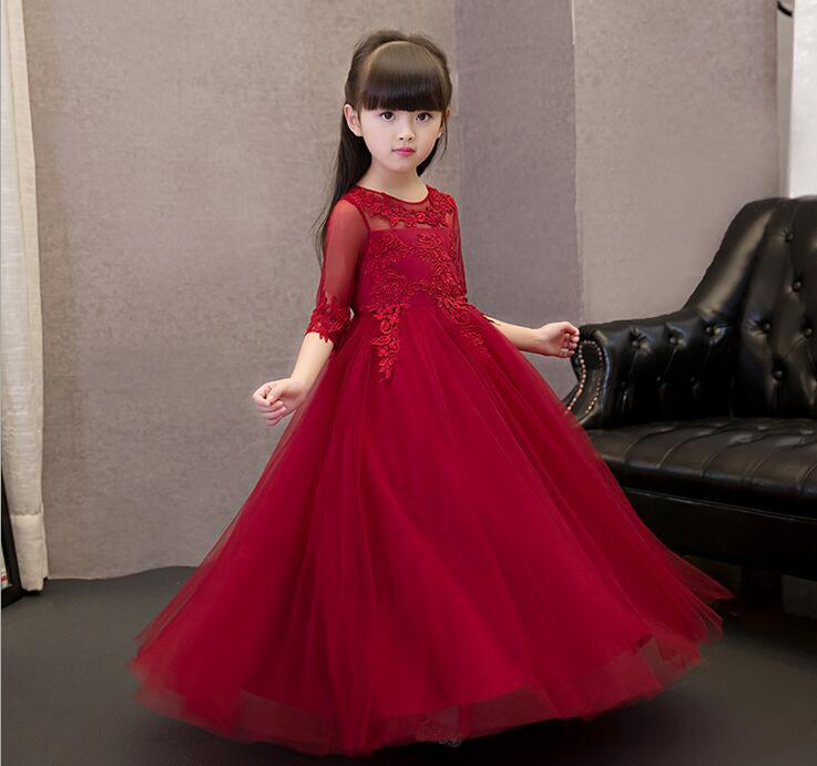 2017 New Red Chiffon Flower Girls Long Sleeve Appliques Formal ...