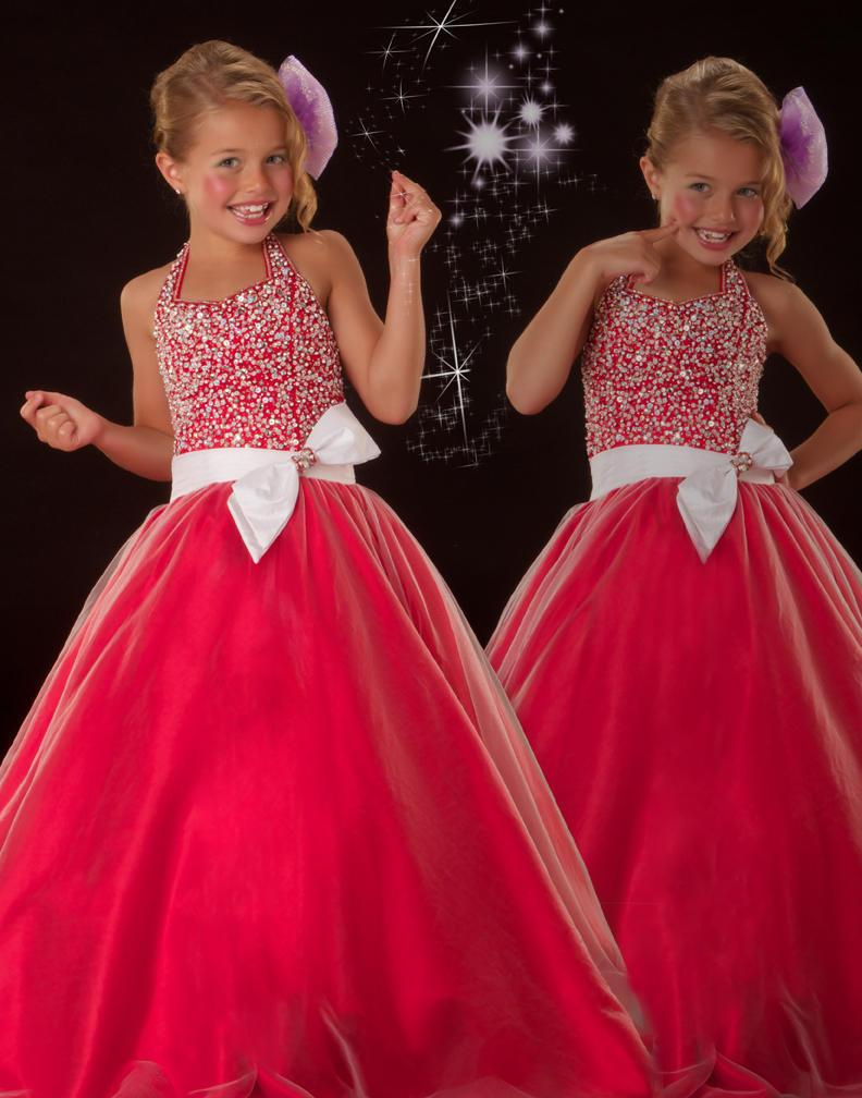 2017 New Red Pageant Dresses For Little Girls Flower Girl Ball Gowns ...