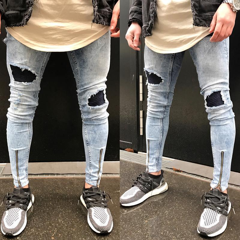 2017 New Vintage Men's Straight Hole Slim Fit Jeans Black Distressed Ripped Skinny Pencil Pants