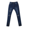 2017 Newest Boys Mens Fashion Blue ripped Skinny Stretch Biker Zipper Jeans Pant Knee Hole Trousers