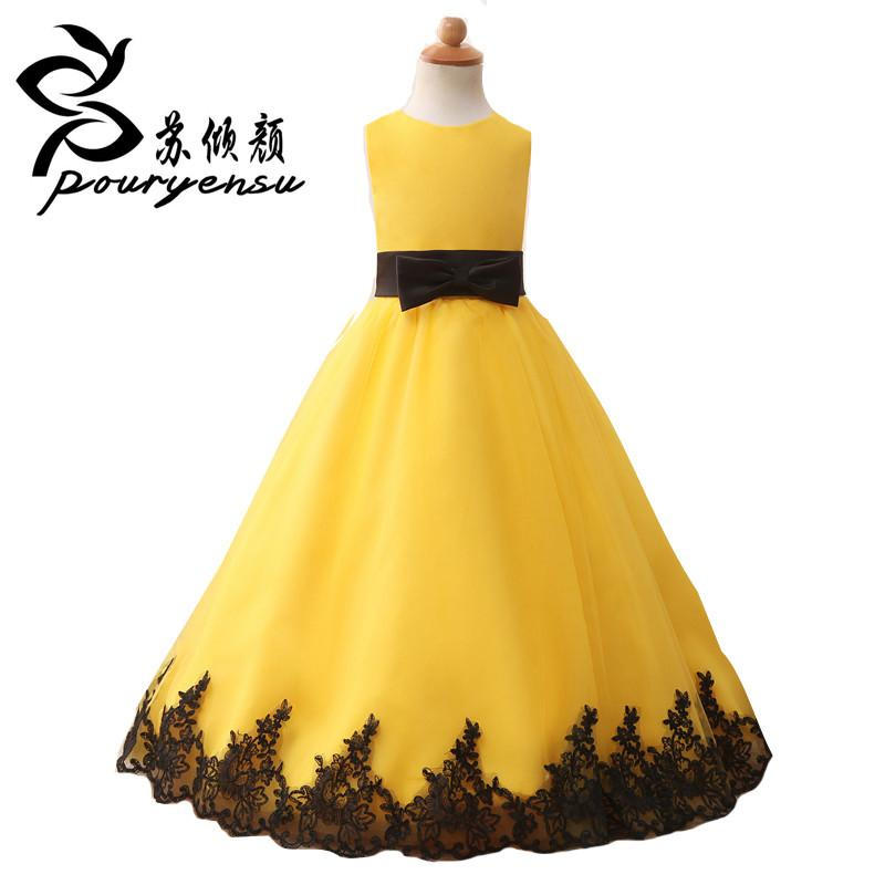 2017 real pics yellow flower girl dresses with black appliques 2017 real pics yellow flower girl dresses with black appliques sleevel jetcube mightylinksfo
