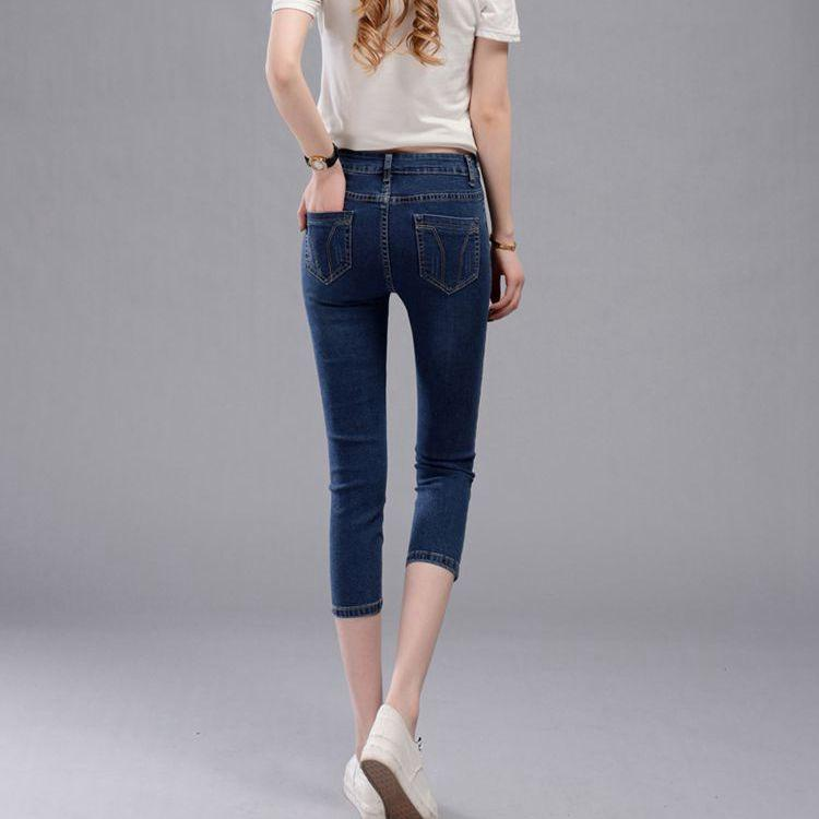 2017 Spring Women Denim Capris Pants High Waist Jeans Woman Knee Length Denim Shorts Plus Size