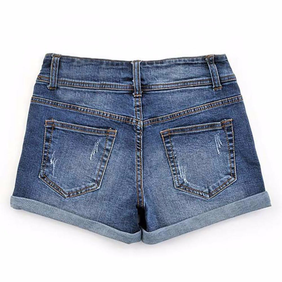 2017 Summer New Korean Women Thin Beaded Three-dimensional Hole High Waist Shorts Denim Shorts for Women Loose Plus Jeans Short womens shorts COLIN'S- upcube