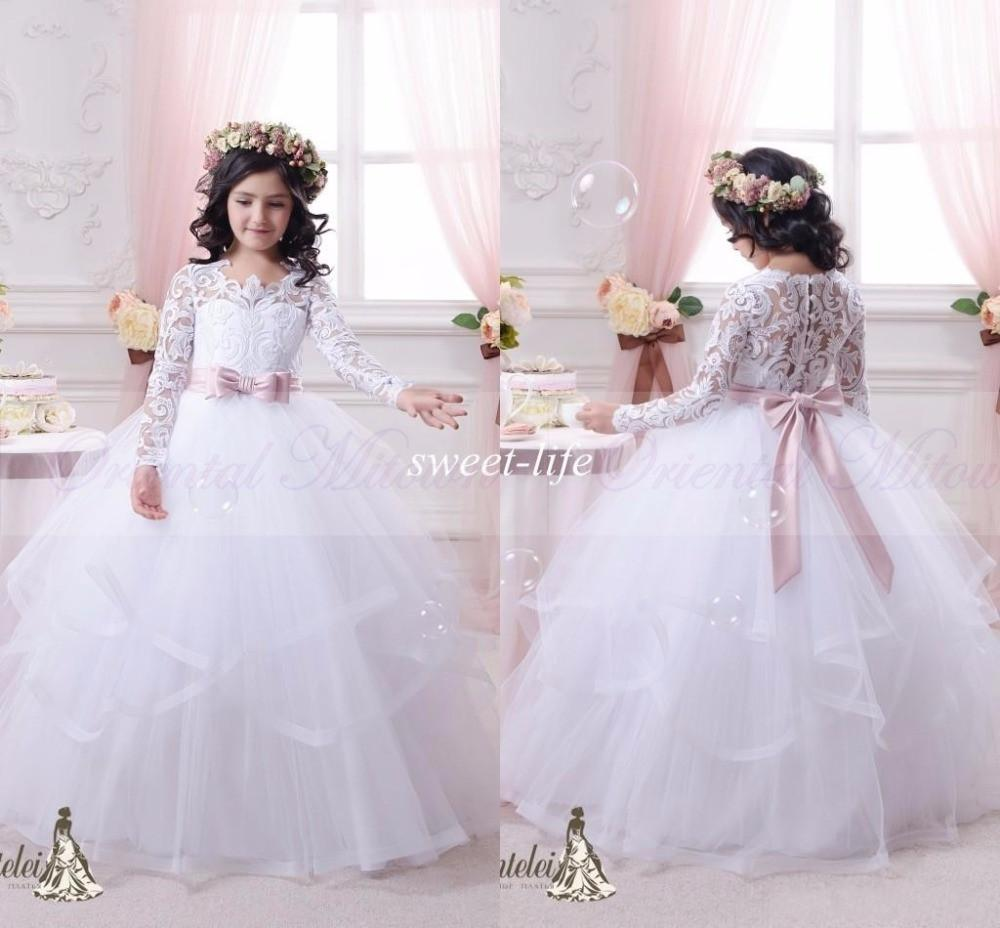 2017 White Lace Long Sleeves Flower Girls Dress Ball Gown Princess ...