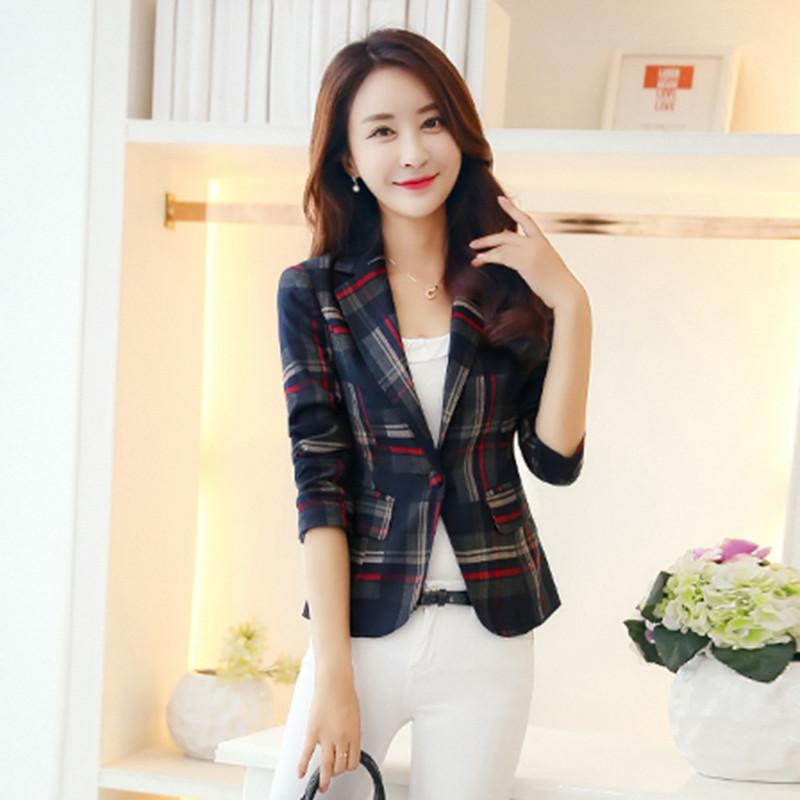 2017 Women Blazers & Jackets Blue Red Plaid Blazer Women blazer Coat Casual One Button Outerwear Short Blazer Feminino OL style