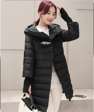 2017 autumn and winter women jacket coat thin women parkas female outerwear red black slim fashion lady clothing