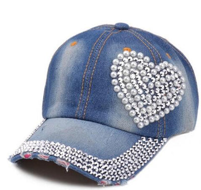 ... new women post heart-shaped diamond pearl new cowboy do  sale uk 45939  b8af2 Pearl Rhinestones Heart Shape Blue Jean Hats Women Summer Baseball  Caps ... 23940e0955b2