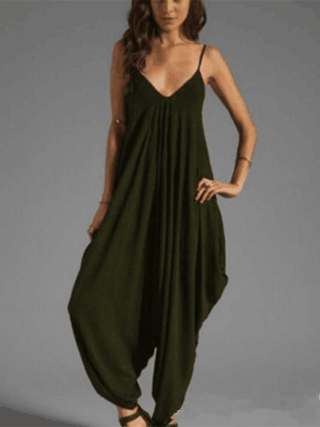 Jumpsuits Bottoms - 10 Colors Spagetti-neck Loose Long Jumpsuits -   jetcube