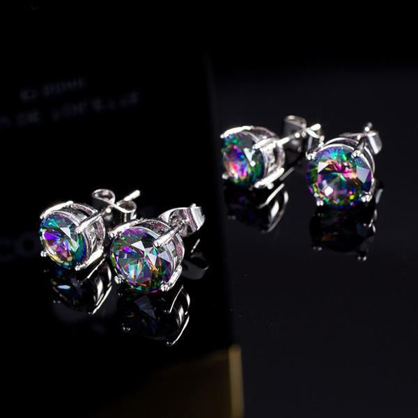 earrings - 1 Pair Women Fashion Chic Crystal  Rhinestone White Gold Plated Ear Stud Earring Jewelry - White  jetcube