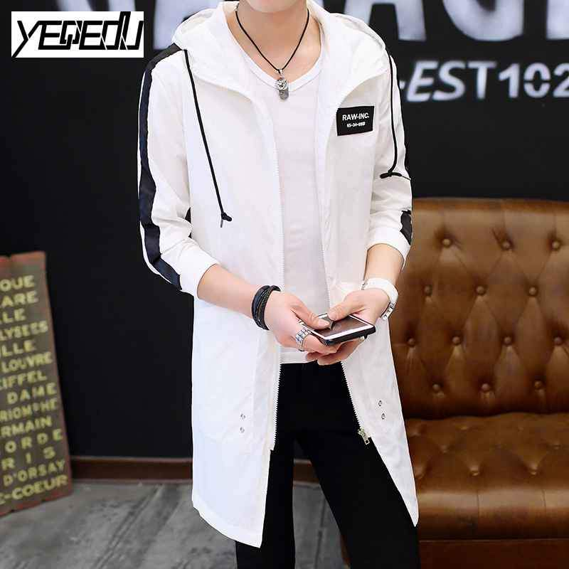 #2447 Spring 2017 Mens hooded trench coat Harajuku Hip hop trench coat homme Big size Trenchcoat White/black mens overcoat 5XL - Jetcube