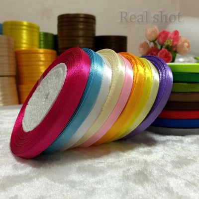 Cross-Stitch - (25 yards/roll ) 6mm Single Face Satin Ribbon Wholesale gift packing Christmas ribbons -   jetcube