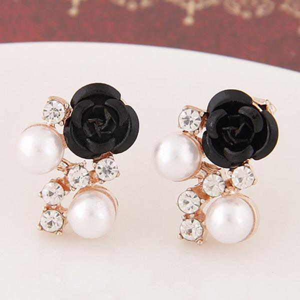 earrings - 1 Pair Charming Rose Flower Imitation Pearl Stud Earring Rhinestone Gold Plated Crystal Earrings - Red  jetcube