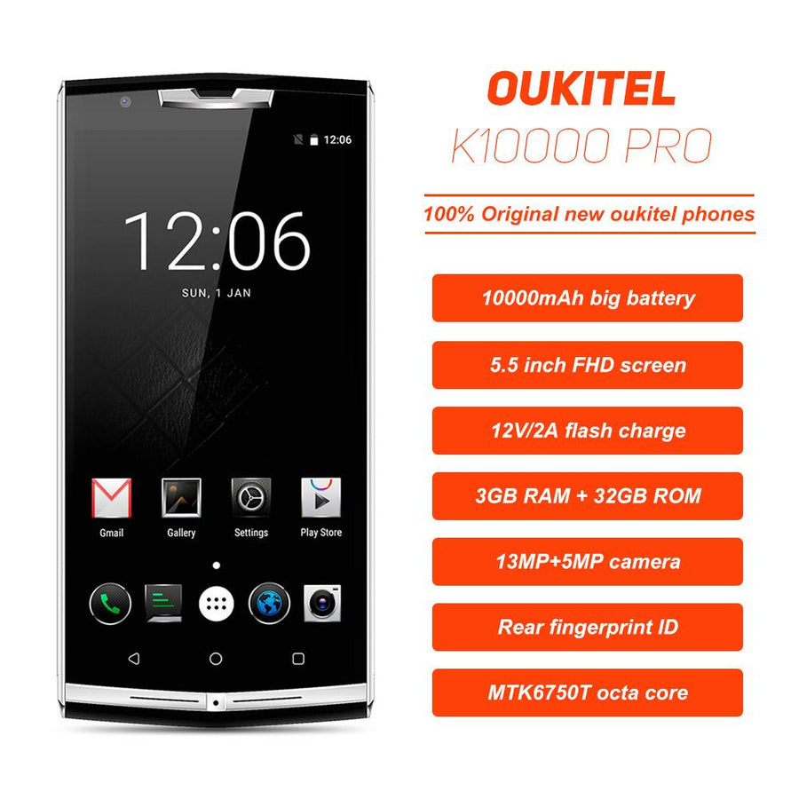 $30 Gift Bag!! 10000mAh Quick Charge Oukitel k10000 pro 4G Mobile Phone 5.5'' FHD 3GB 32GB Android 7.0 13.0MP Rear Smartphone Cell Phone OUKITEL Authorized Speciality Store- upcube