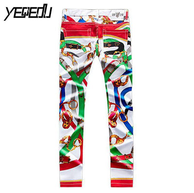 #3412 Mens printed jeans White jeans men Fashion Straight Casual Designer jeans men High quality Motorcycle pants Biker denim - Jetcube