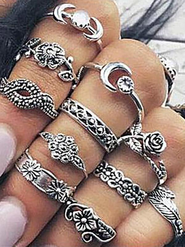 Rings Accessories - 11pcs Vintage Rose&Leaf Carved Hollow Rings Accessories -   jetcube