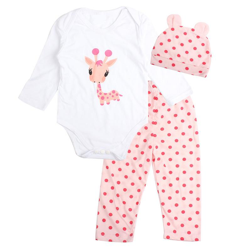 a996fca06891 3PCS Rompers+Hat+Pants Baby Boys Girls Clothing Set Cute Cartoon ...