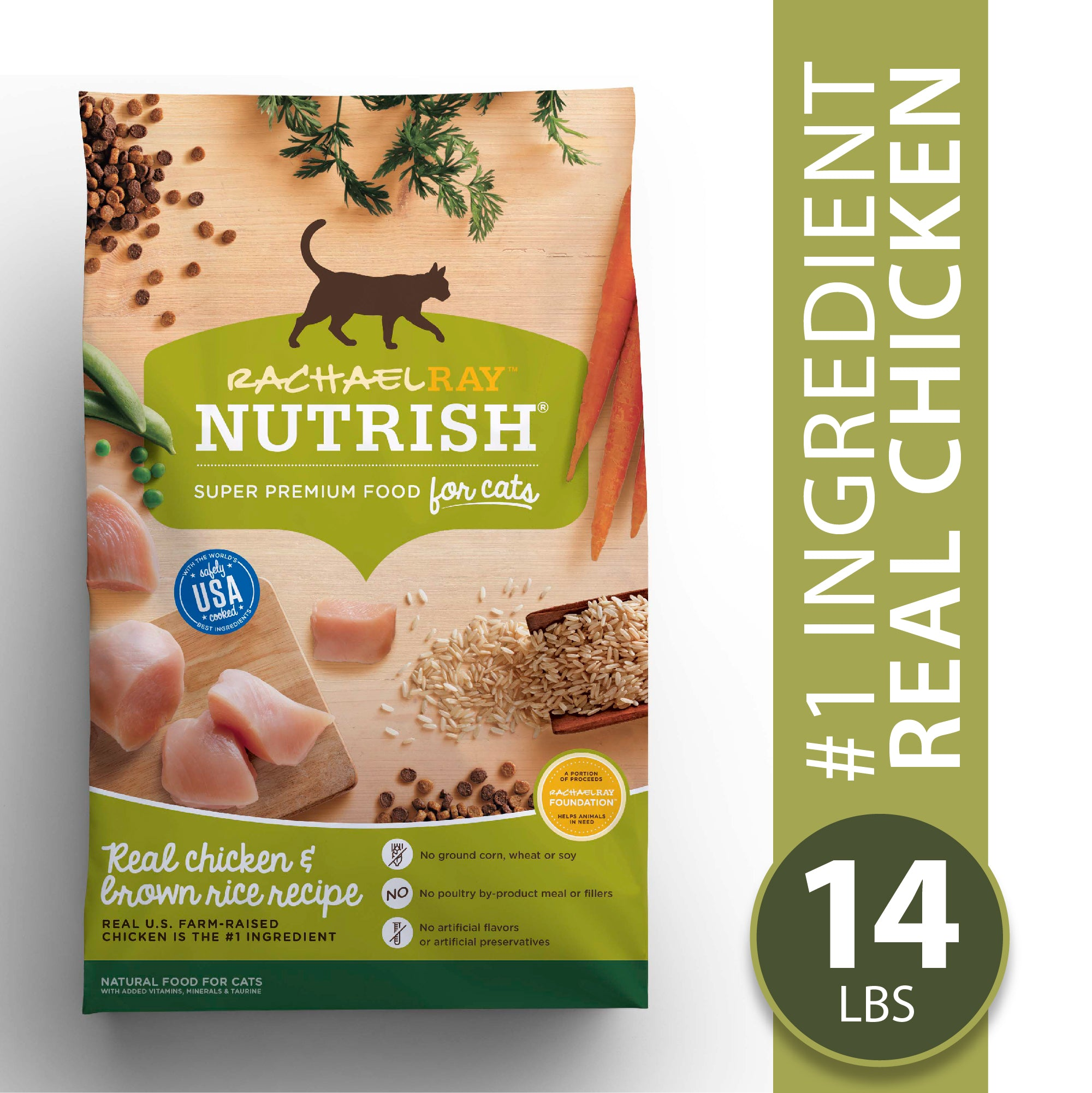 Rachael Ray Nutrish Natural Premium Dry Cat Food, Chicken & Brown Rice Recipe, 14 Lbs