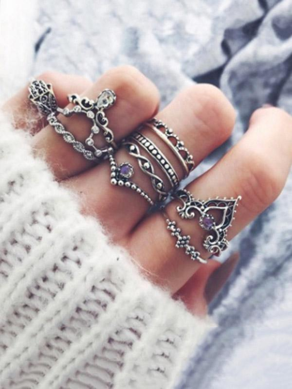 Rings Accessories - 10pcs Vintage Crown Rings Accessories -   jetcube