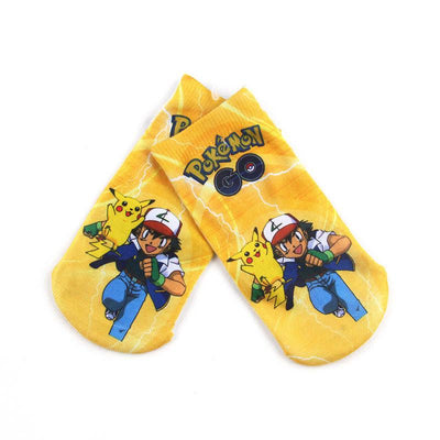 Socks - * 4pairs /lot  Arrival Kawaii Harajuku Pokemon Pikachu Socks 3D Printed Cartoon Women's Low Cut Ankle Socks Novelty Casual Socks -   jetcube