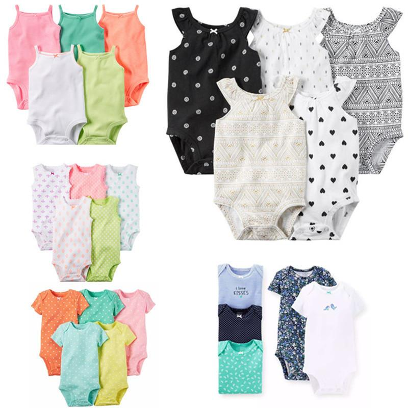 c948413d0b97 5 Pieces Lot Baby Bodysuits Sling Sleeveless Short Sleeved Cotton ...