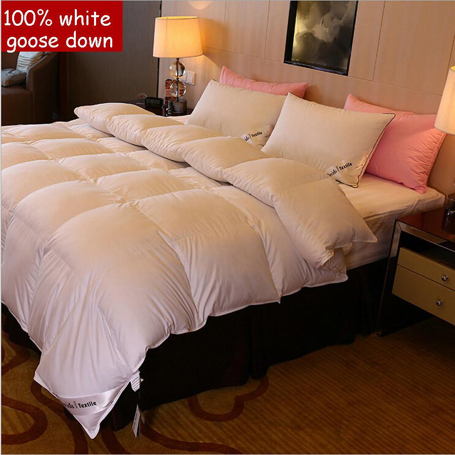 5-star hotel quality 100% Goose Down Luxury white comforter king queen twin size quilt duvet bedclothes blanket bedding cover Comforters Imagey household- upcube