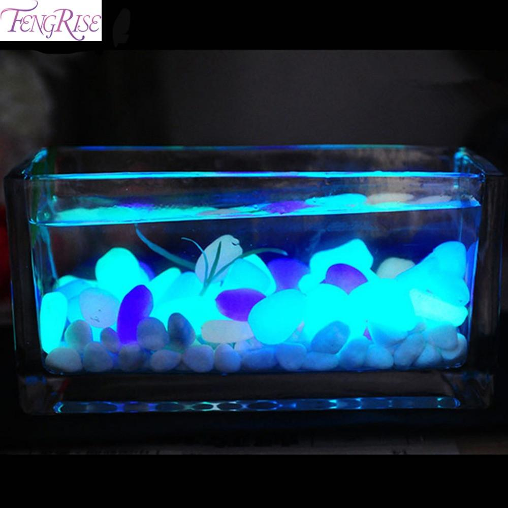 50pcs Glow In The Dark Artificial Luminous Pebbles Stone Aquarium Fish Tank  Decoration Accessories Birds FENGRISE 8c0294efa