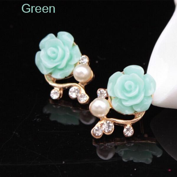 earrings - 1 Pair New Fashion 18K Gold Plated Cute Elegant Rose Pearl Branch Diamond Stud Earrings - Green  jetcube