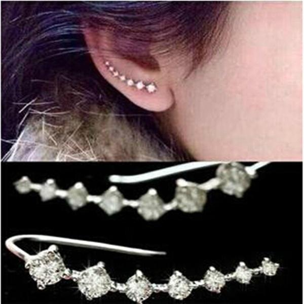 earrings - 2 Pairs Top Quality Four-Prong Setting Diamonds Gold Plated Ear Hook Stud Earrings Jewelry -   jetcube