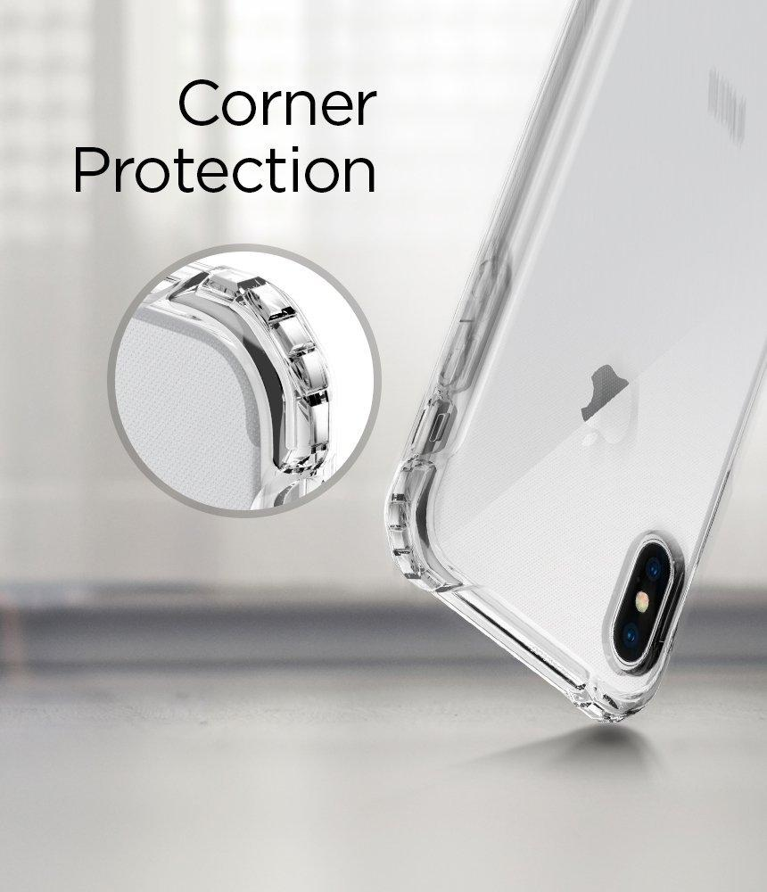 Spigen Rugged Crystal Iphone X Case With Clear Back Panel And Classic One Aluminium Original Gray Reinforced Corners On Tpu Bumper