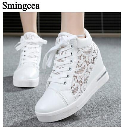 6cm High Fashion cutouts lace white canvas shoes hollow floral print breathable platform women casual mesh shoes zapatos mujer Women's Pumps Good Luck Store- upcube