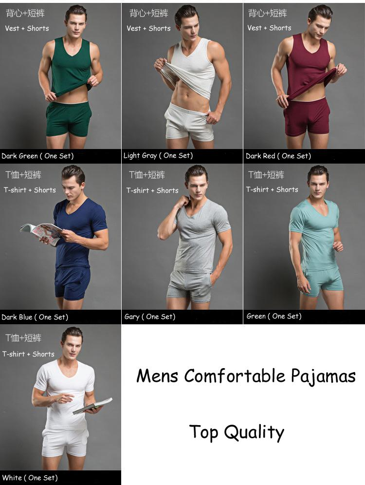7 Color Men Comfortable Cotton Pajamas Set T Shirt Shorts Sexy Mens Underwear Tees Undershirts Tshirts Sleepwear Tank Top Boxers