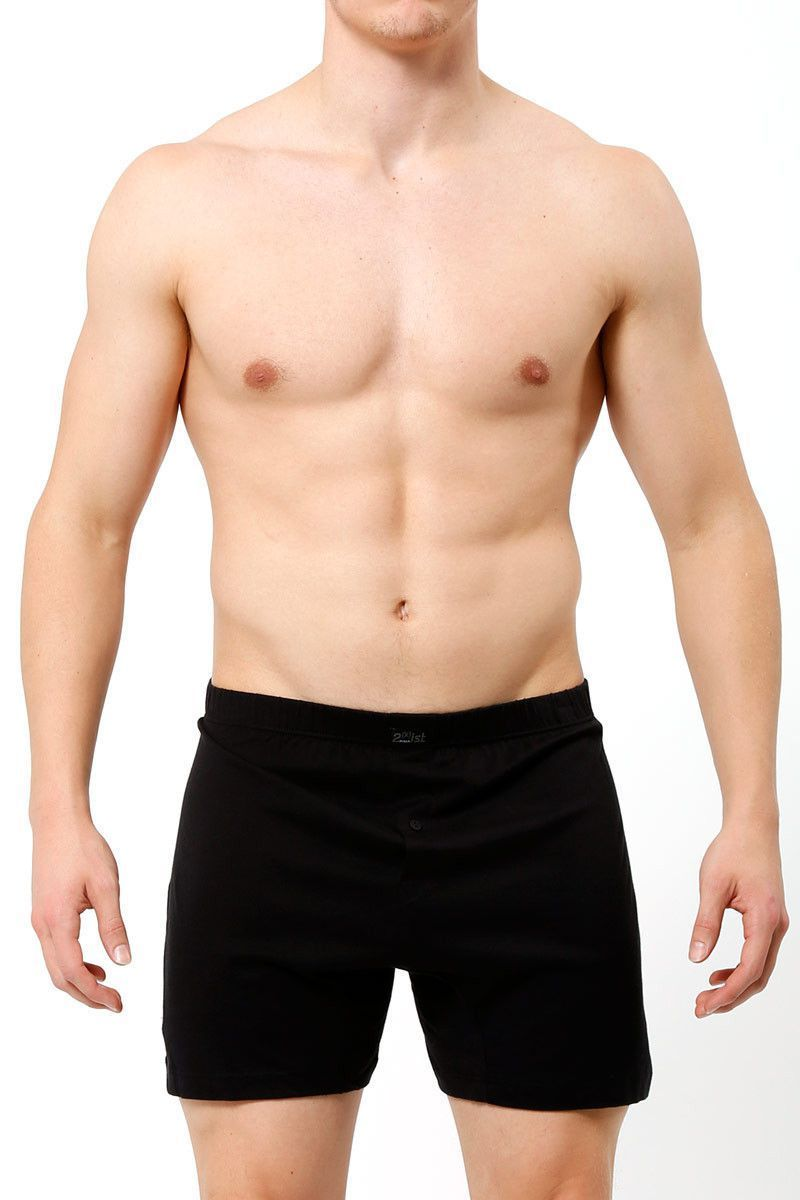 Boxer Shorts - 2(X)IST Black Pima Cotton Button-fly Boxer -   jetcube