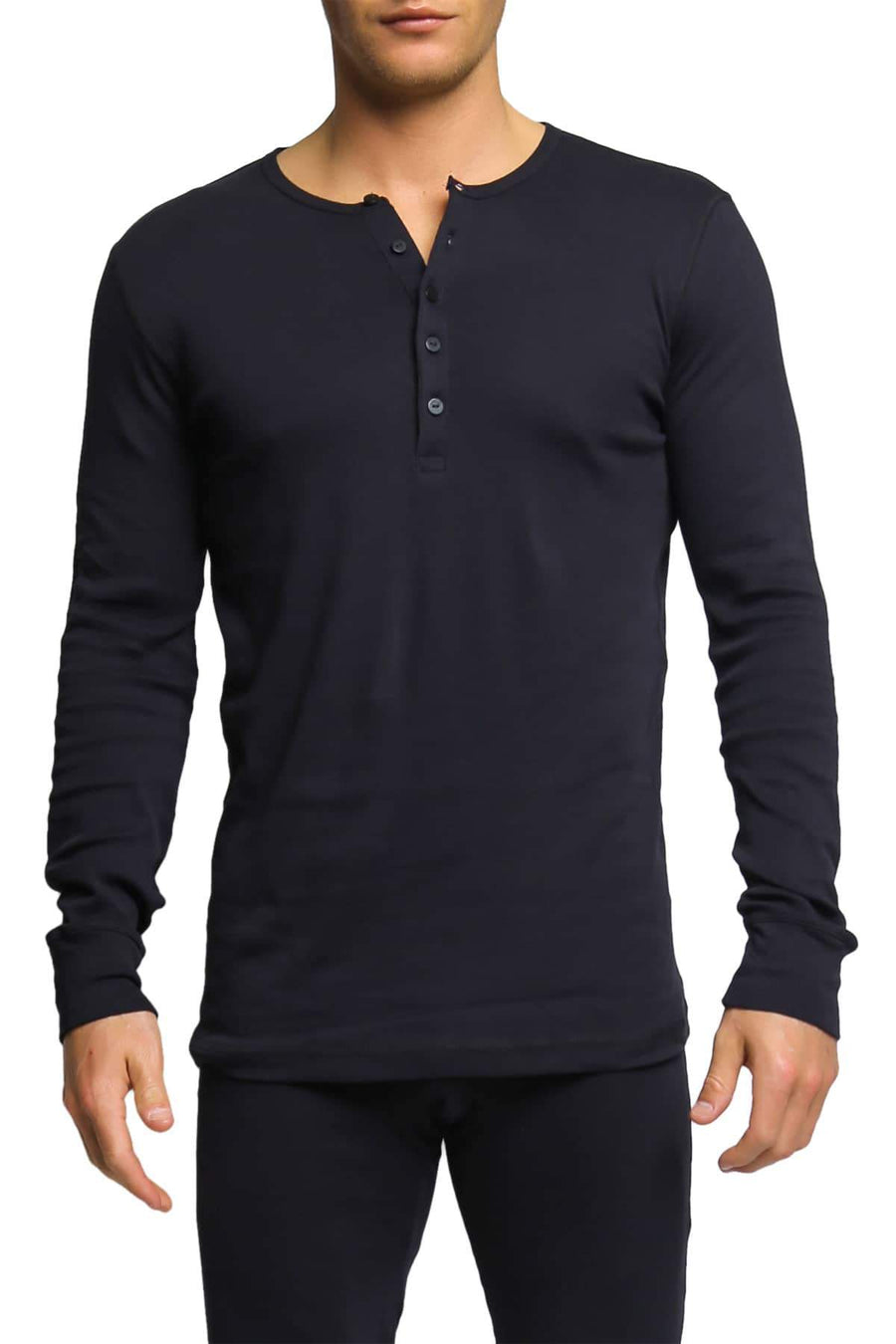 Shirts - 2(X)IST Black Essential Long Sleeve Henley -   jetcube