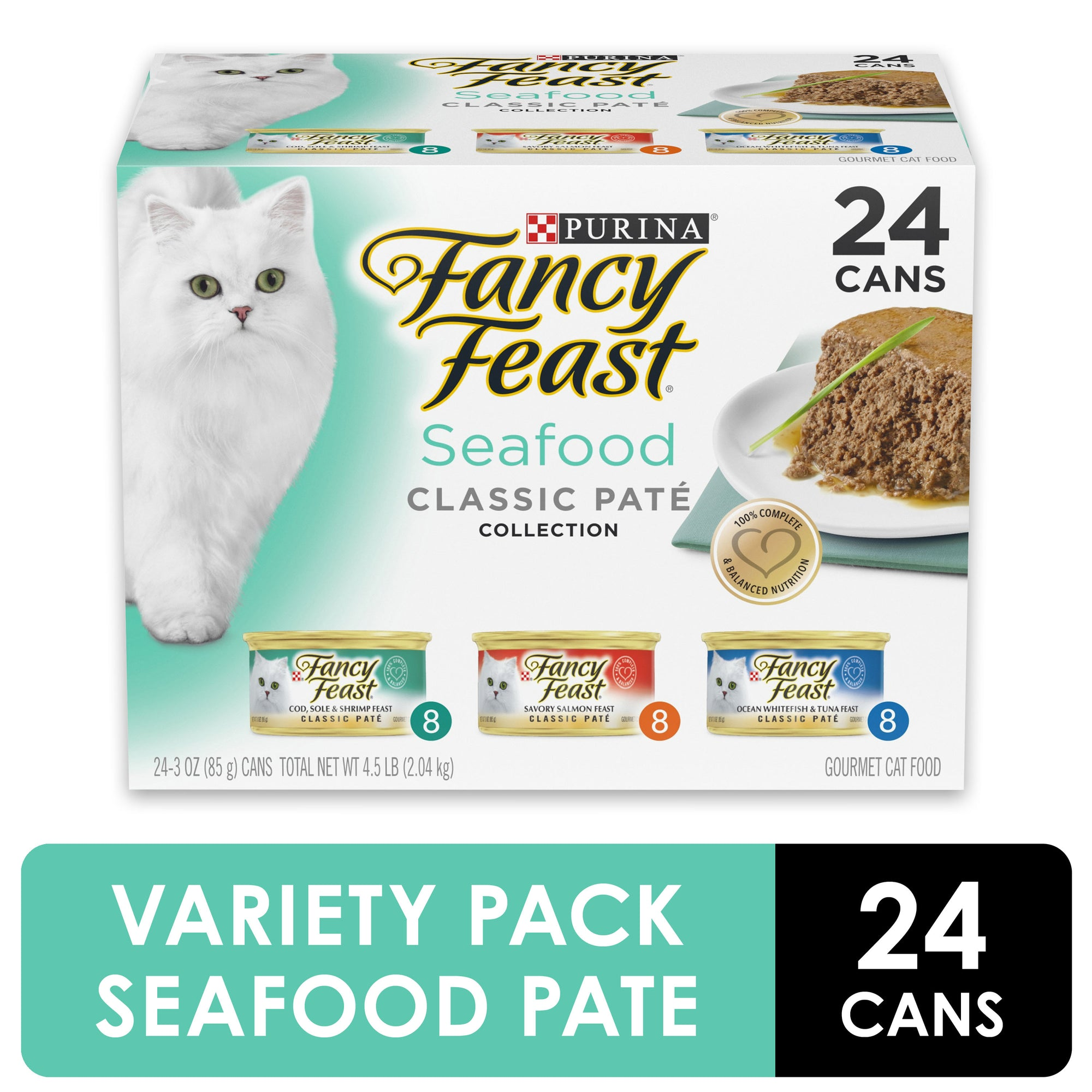 (24 Pack) Fancy Feast Grain Free Pate Wet Cat Food Variety Pack, Seafood Classic Pate Collection, 3 oz. Cans