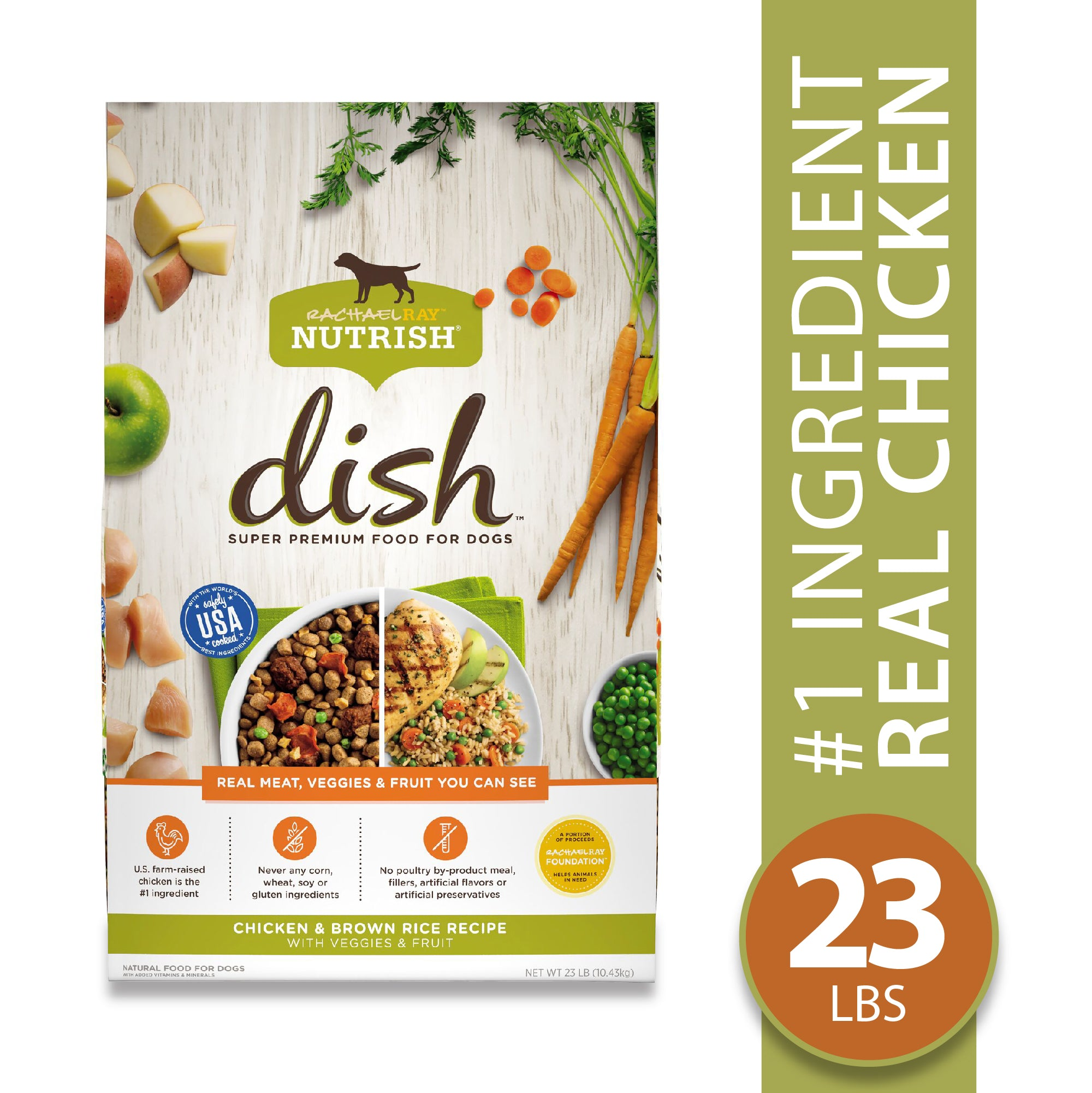Rachael Ray Nutrish Dish Natural Premium Dry Dog Food, Chicken & Brown Rice Recipe With Veggies & Fruit, 23 Lbs
