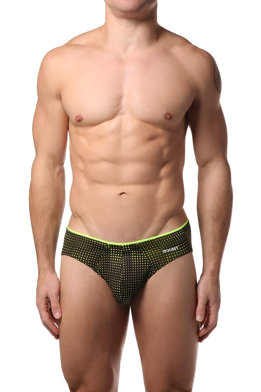 Briefs - 2(X)IST Black & Neon Yellow Sliq Brief -   jetcube