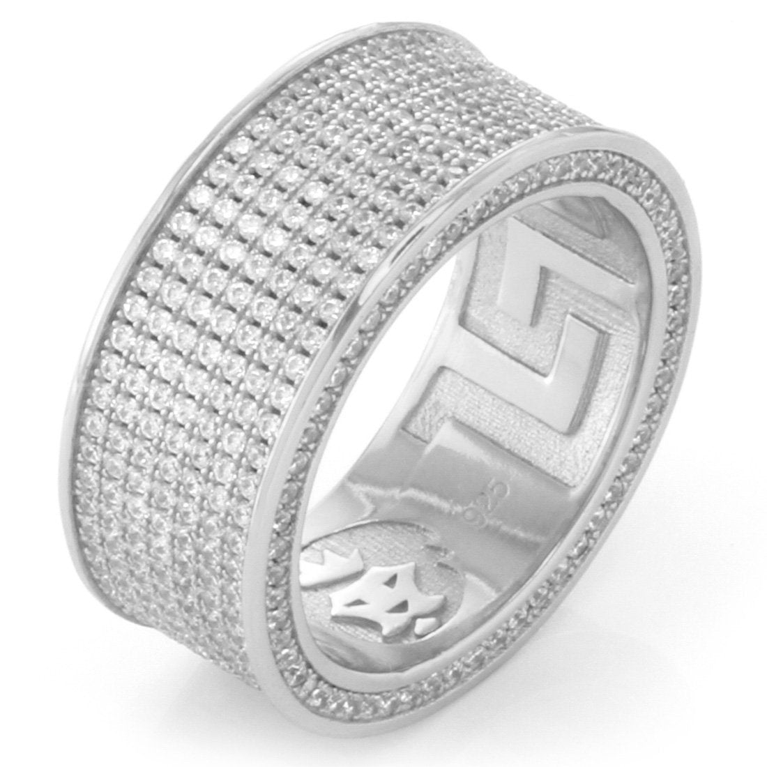 Rings - .925 Sterling Silver White Gold Infinity Ring - 7 Row -   jetcube