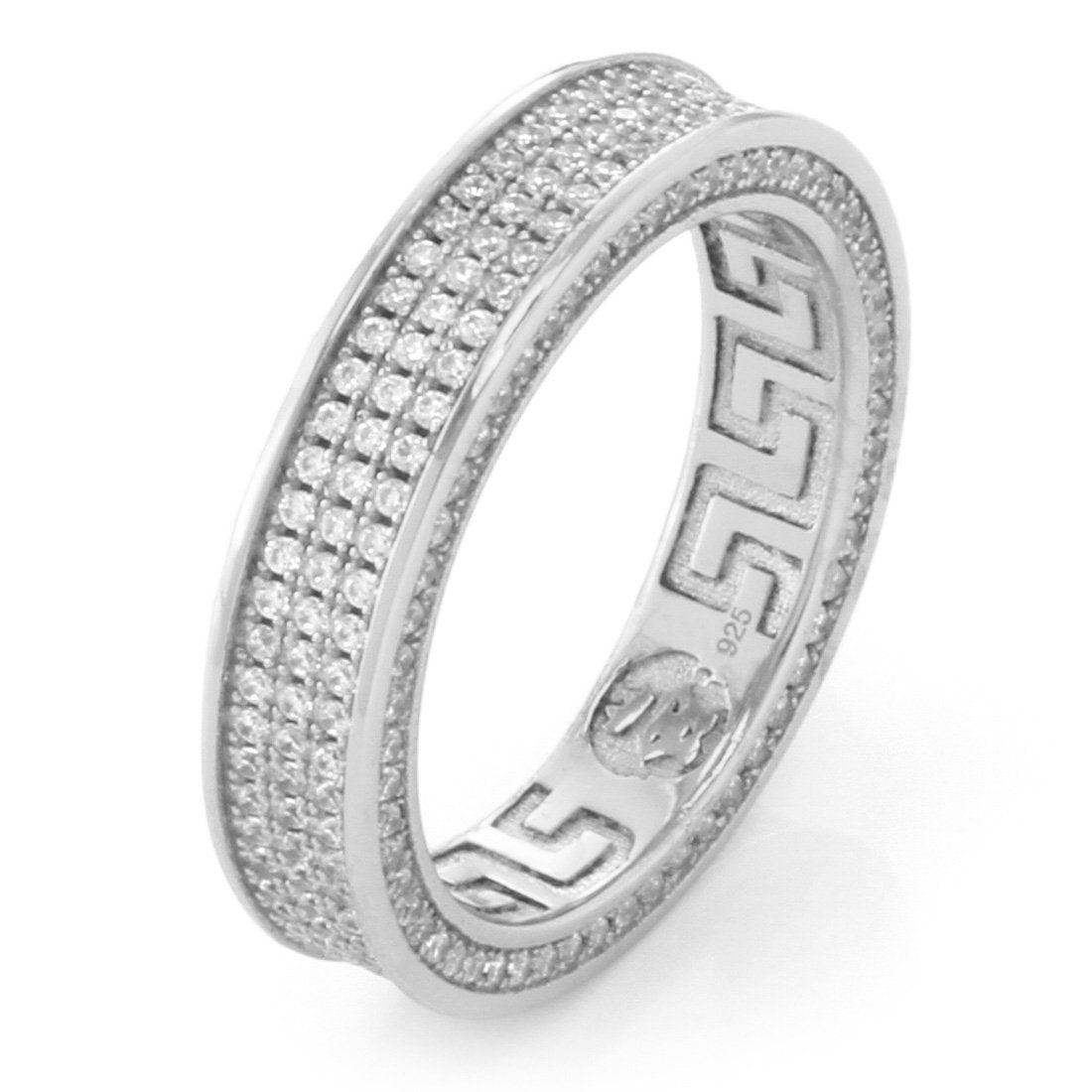 Rings - .925 Sterling Silver White Gold Infinity Ring - 3 Row -   jetcube