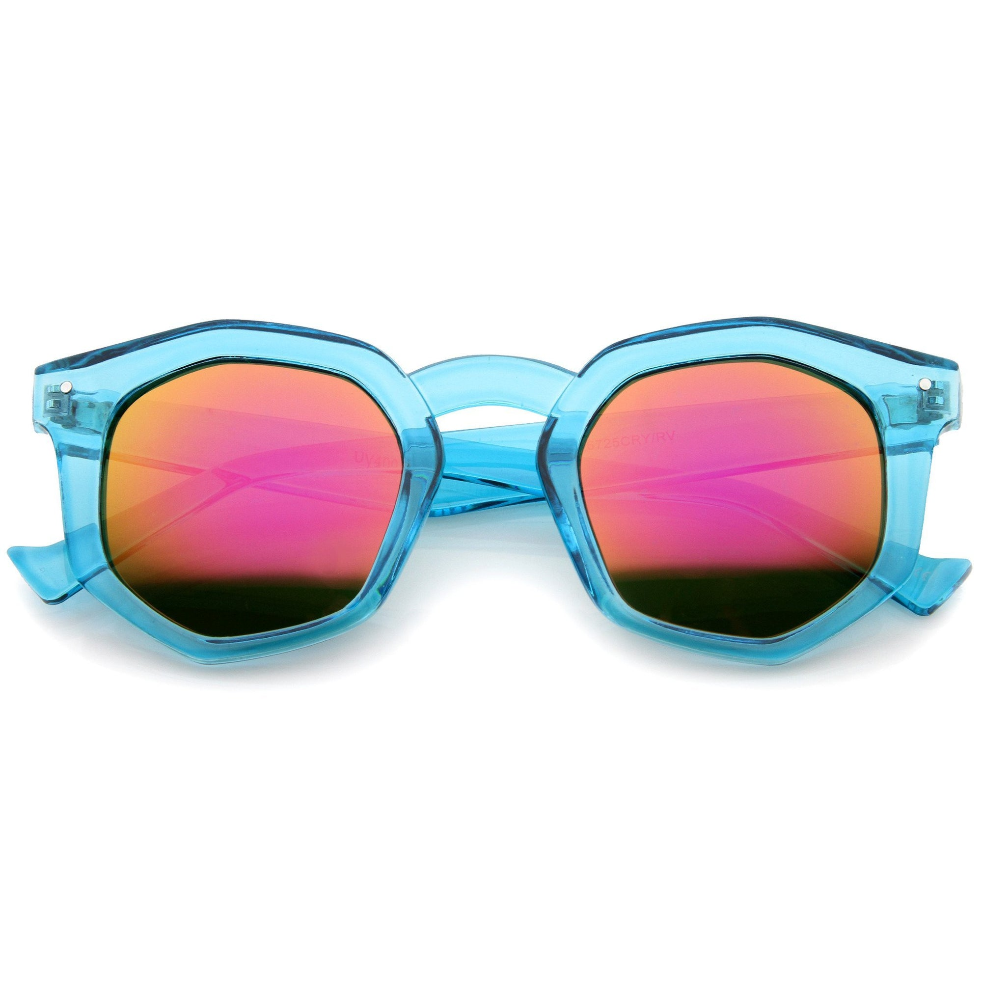 Retro Geometric Colorful Translucent Hexagon Sunglasses A248 - Upcube 9f491a29a