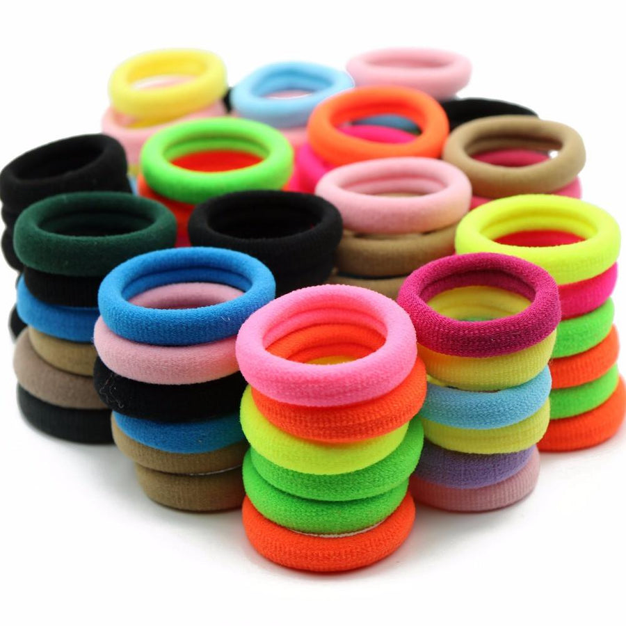 #AD0043 24pcs/lot 3cm Elastic Gum Wholesale Fluorescence/Black/Candy Colors Rezinochki Women/Children Hair Accessories Scrunchy